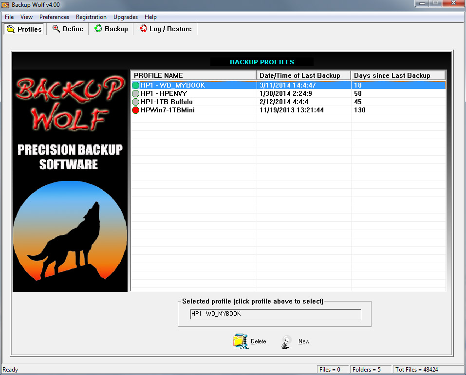Backup Wolf Backup Software Profile Screen Shot