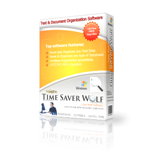 Time Saver Wolf Text Document Organization Software Product Box Image