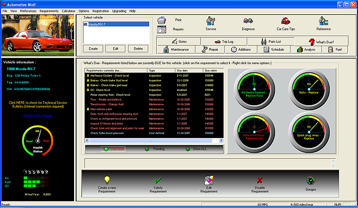 Car Maintenance Software Screen Shot Image