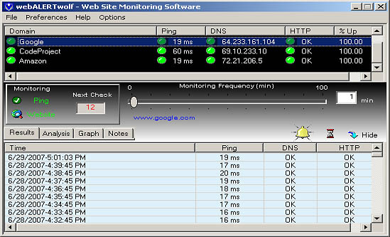 Website Monitoring Software. Notifies you when a problem occurs.